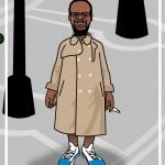 bum in overcoat cartoon
