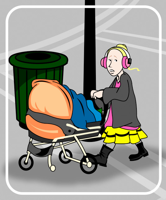 cartoon of homeless woman with baby carraige