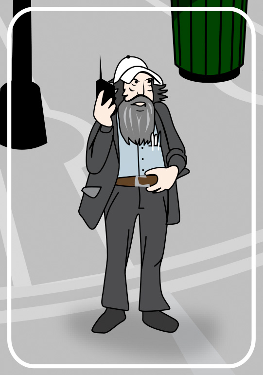 bearded man with radio to ear cartoon