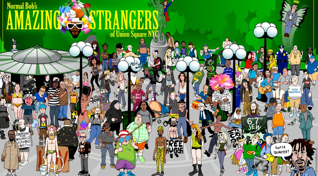 amazing strangers of union square cartoon drawing