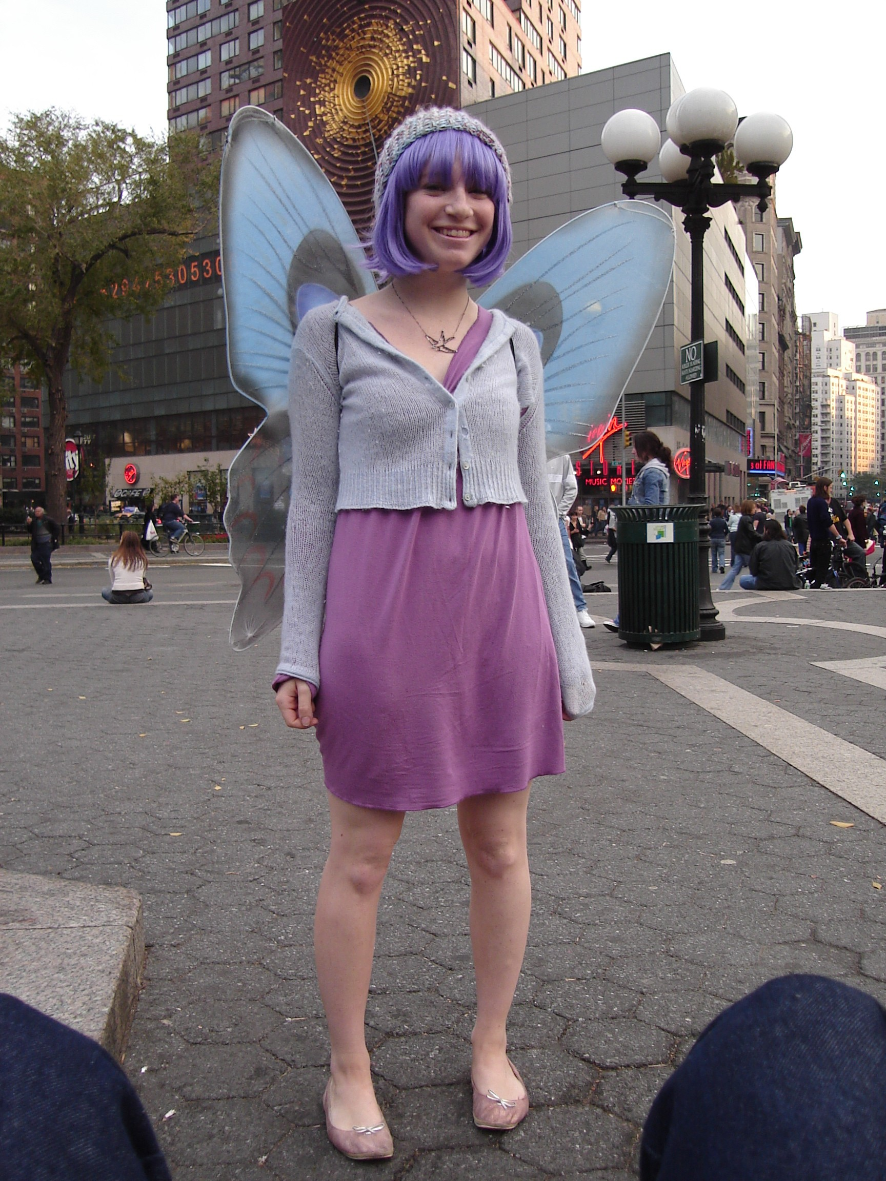 girl dressed as purple fairy