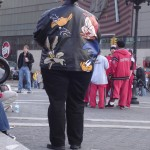Woman wearing Looney Toons Leather Coat