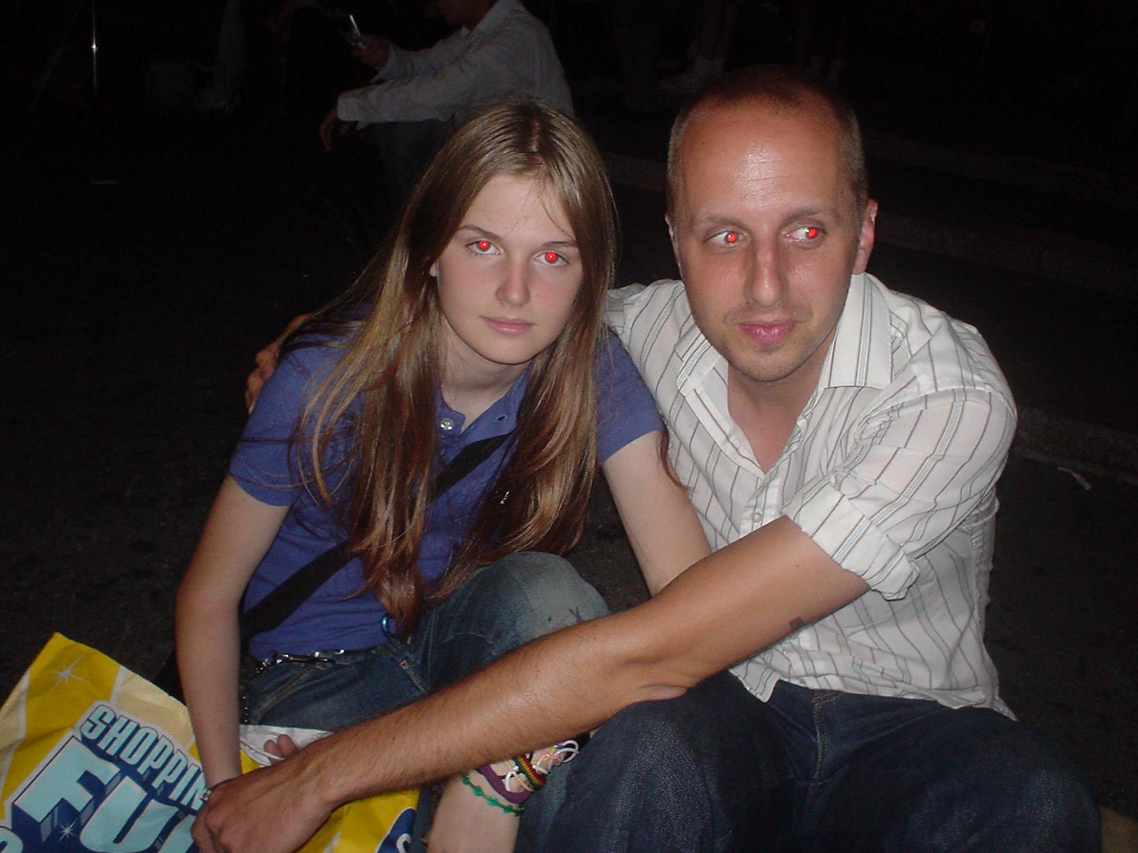 girl and bald man