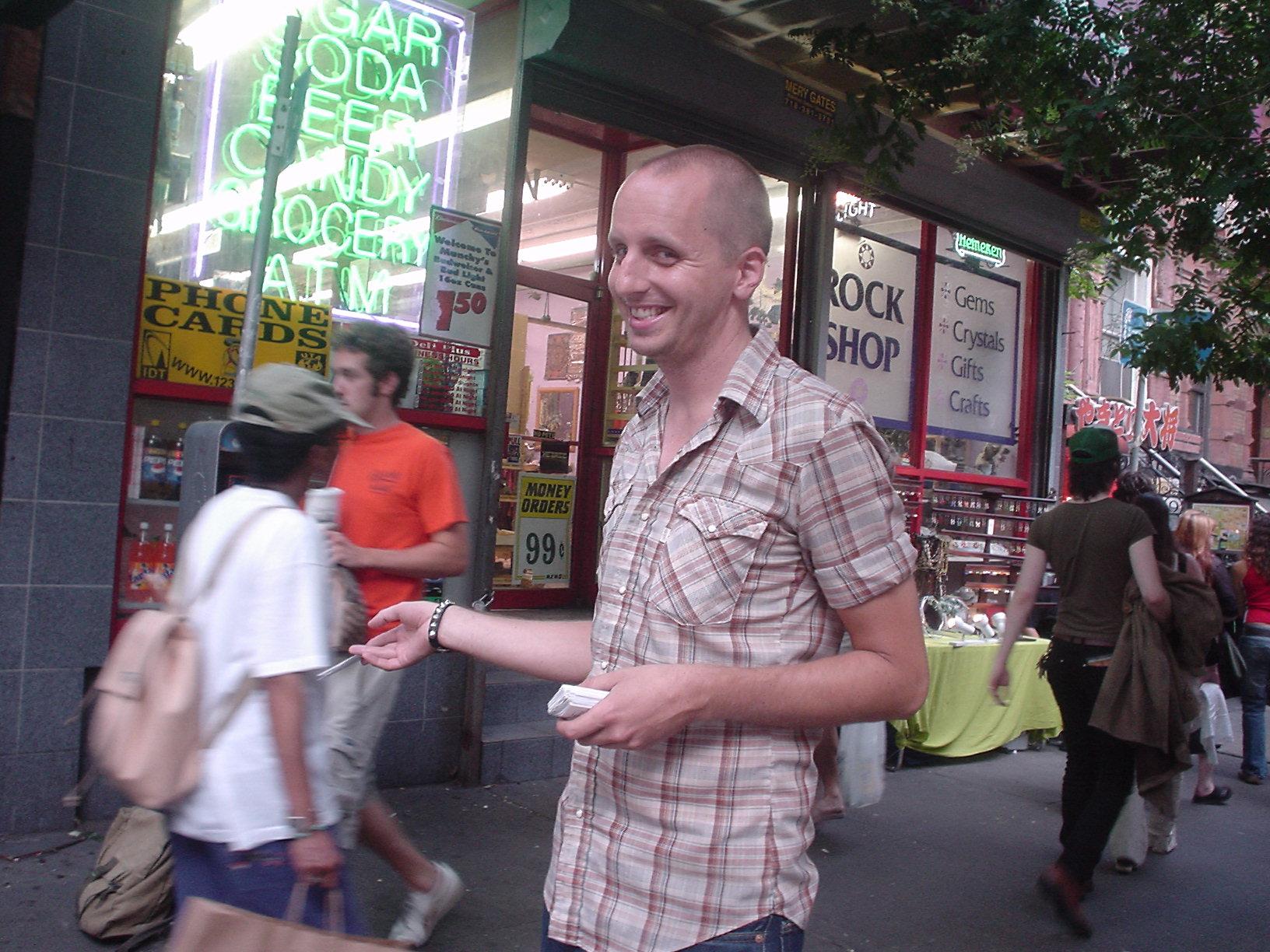 Normal Bob distributing GOD IS FAKE flyers on Saint Marks
