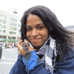 homeless black girl with a rat