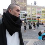 pretty bald boy profile with scarf