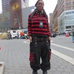 Green Graver girl in red & black stripes