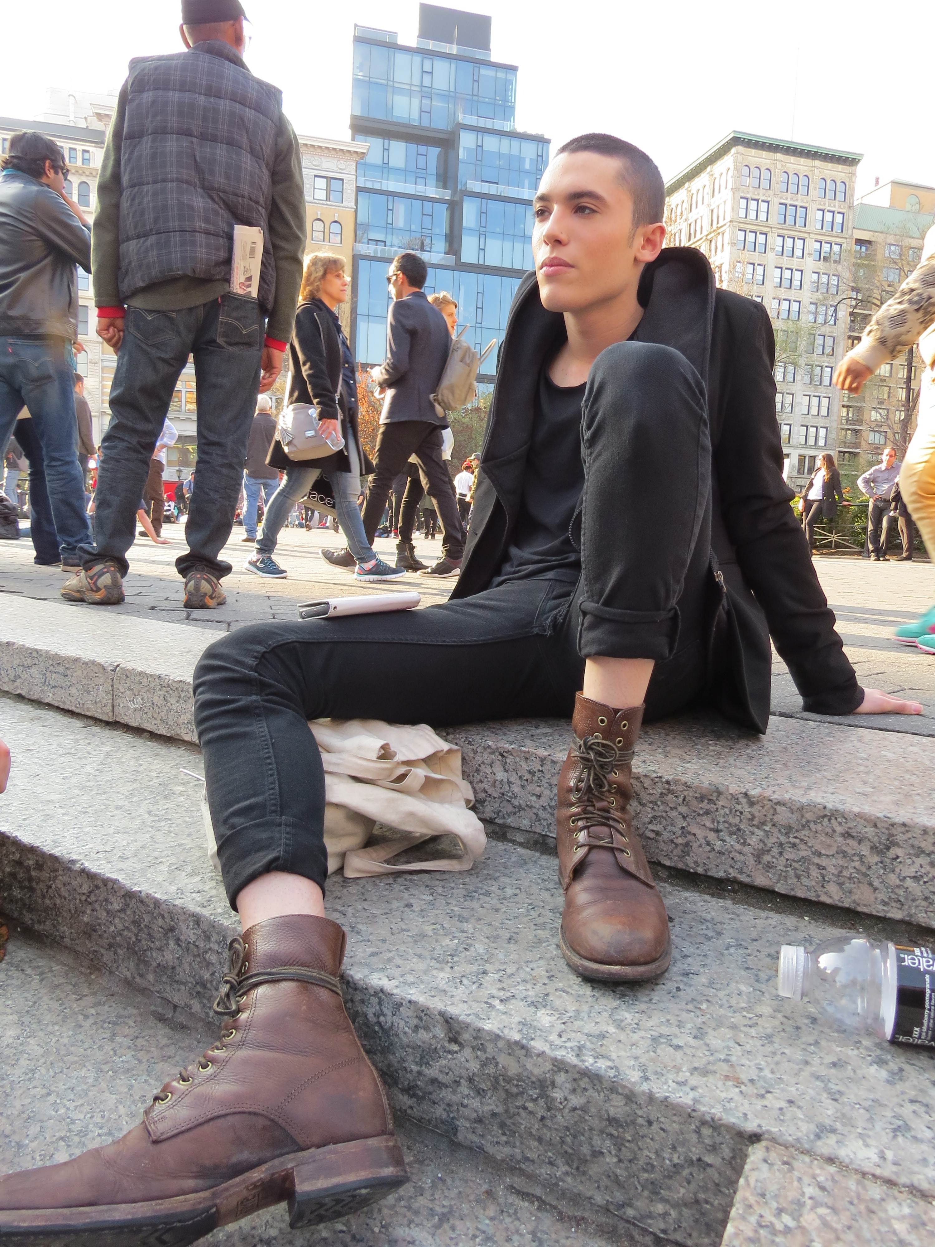 pretty bald boy perspective from shoe