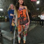 Deadhead Girl in orange corcet w/crutch