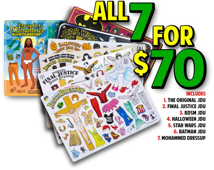 Includes Mohammed Dressup magnets + Batman, Star Wars, Halloween, Final Justice, BDSM & the Original Jesus Dressups!