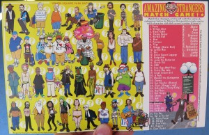 This is the 2014 Amazing Strangers of Union Square matchgame postcard from 2013. These are the last ones available.  Quantity 1 postcard $2.00 USD 2 postcards $3.50 USD 4 postcards $6.25 USD 	8 postcards $11.00 USD 	12 postcards $12.00 USD