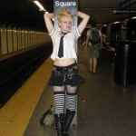 punk schoolgirl in subway station