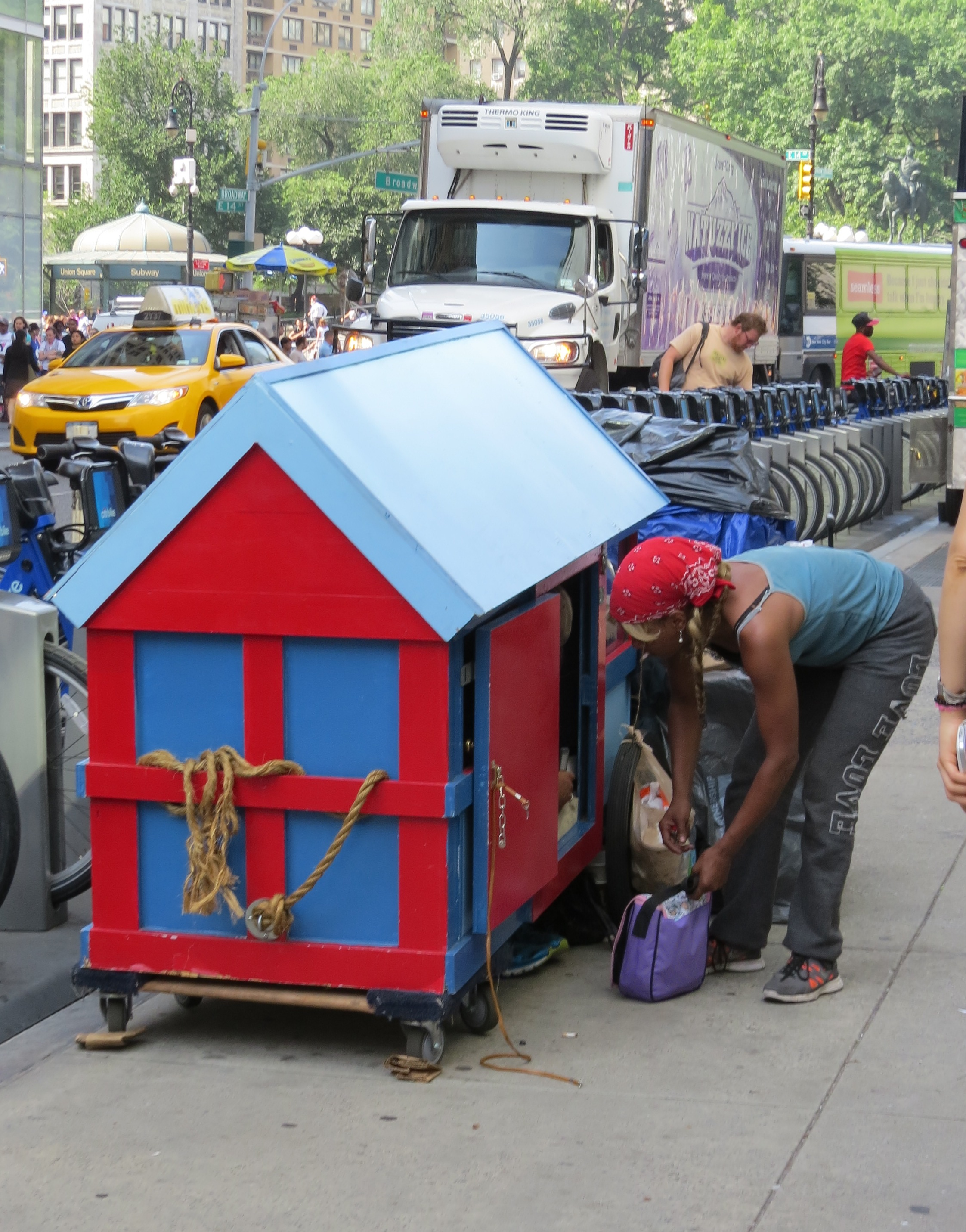 "Wagon house being used by ""homeless"" as shelter in nyc"