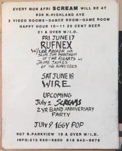 Iggy Pop flyer 1988 Hollywood Scream