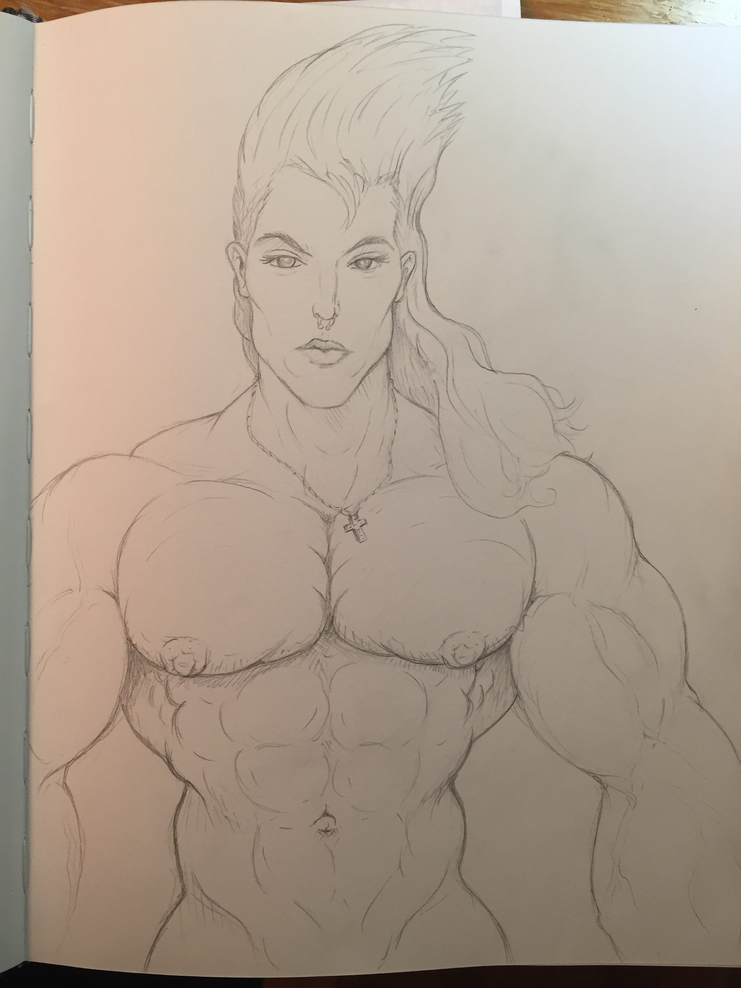 I was given the challenge to draw beautiful Jake as a muscular bodybuilder, and it took me under an hour to complete the sketch