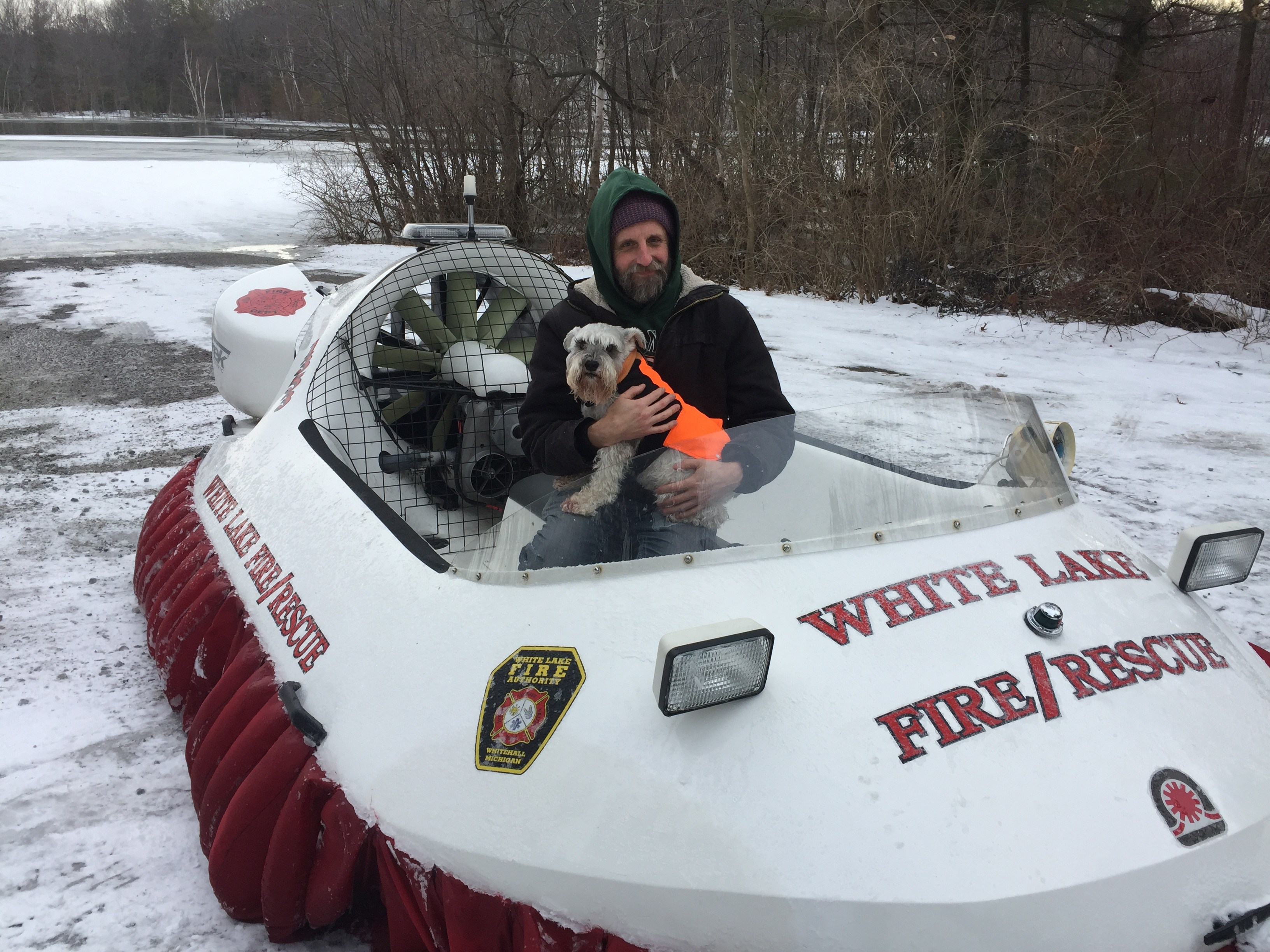 Shotzi & I in fire dpt hovercraft taken 2 days after I fell thru the ice