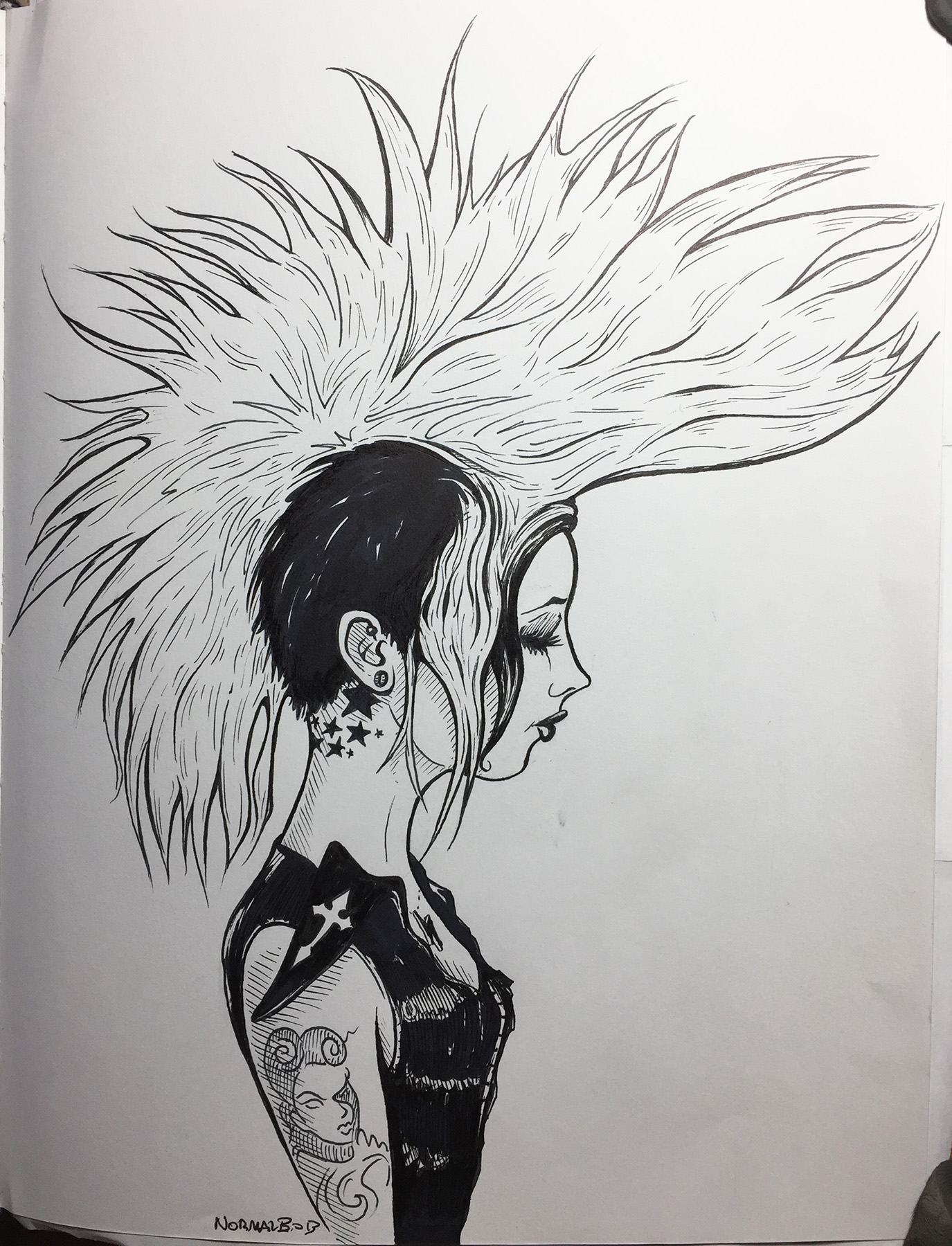 Mohawk Girl pen & ink