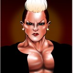 portrait of muscular punk woman