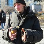 homeless junkie kid in winter coat