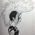 Mohawk Girl pen & ink